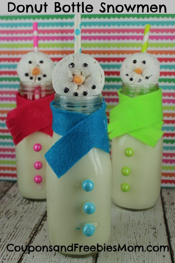 Donut Bottle Snowmen | Coupons and Freebies Mom | Why not surprise your kids this weekend with this adorable Donut Bottle Snowmen! Using a few fun items like recycled bottles, store bought donuts and cute paper straws you can create this simple and fun Donut Bottle Snowman and have it set next to their place setting when you call them to the table for their favorite breakfast this weekend. Tons of fun! | #KidFriendly #snowmen #donuts #breakfast #funideas