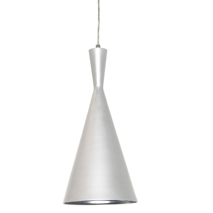 A luxurious cone shape pendant, this single bulb light features a white shade accented on the inside with silver. Requires a single 60W bulb.<br \> <br \> <ul \><li>Number of Light: 1 Light</li><li>Li...