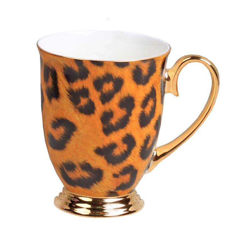 Royal Fine Bone China tazas de cerámica taza de té de la taza de café, estampado de leopardo, marrón y negro guarde la calma tazas reutilizable taza de café(China (Mainland))