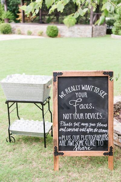 Funny wedding ceremony sign - chalkboard wedding ceremony sign - unplugged ceremony sign idea  {Eric & Jamie Photography}