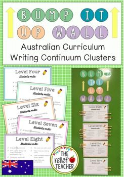*Bump it Up Wall* Aligned with Australian Curriculum Writing Continuum Clusters: By Stage One, students are expected to progress to the level 8 cluster on the  K-10 Literacy Continuum . In order to track and encourage this growth in writing, use this interactive 'Bump it Up Wall' display.