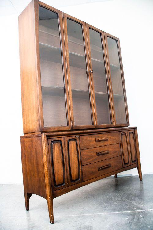 Mid Century Modern China Cabinet Hutch Broyhill Emphasis Brasilia Danish  Vintage Part 45