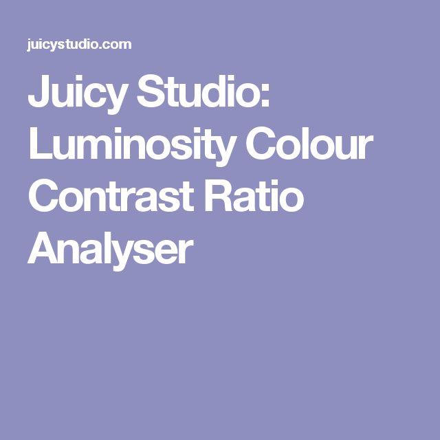 Juicy Studio: Luminosity Colour Contrast Ratio Analyser