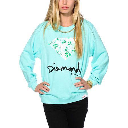 Diamond Supply Co. Floral Diamond Blue Crew Neck Sweatshirt