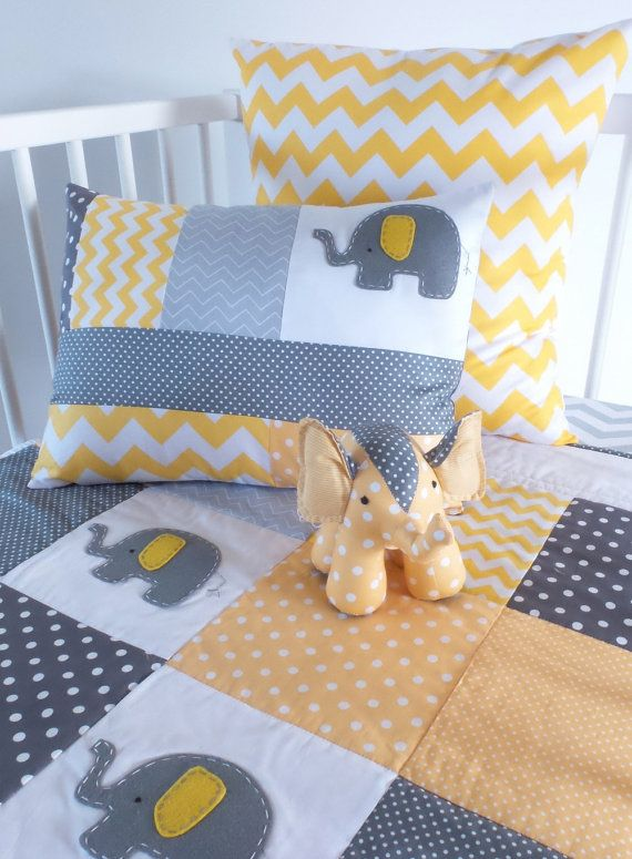 Elephant Baby Crib Quilt Yellow And Grey By Alphabetmonkey