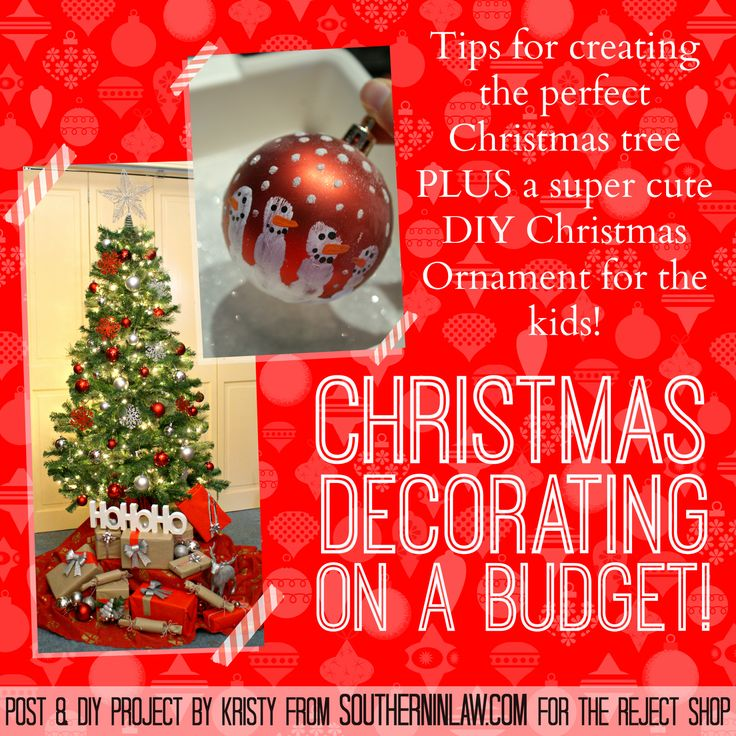 Find out how to decorate your Christmas Tree on a Budget but still have it look amazing PLUS find out how to make this super cute Snowman Handprint Ornament - the perfect Easy DIY Christmas Ornament for Kids!