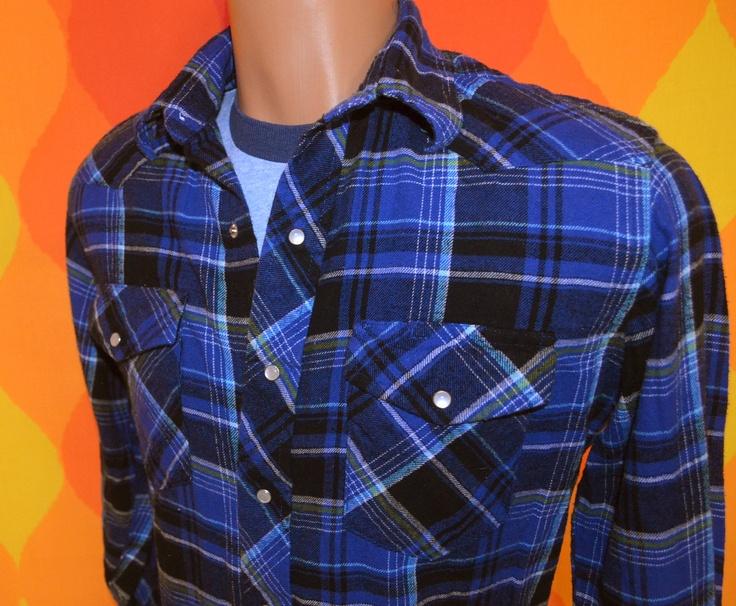 vintage 80s flannel western shirt WRANGLER blue cowboy ...