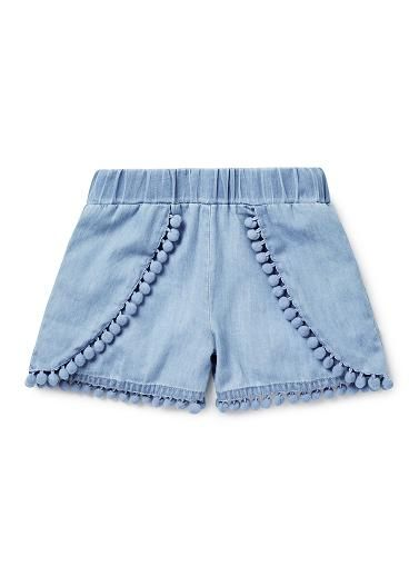 Girls Shorts | Chambray Pom Pom Short | Seed Heritage
