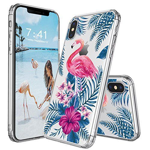 iPhone X Case, iPhone 10 Case, MOSNOVO Tropical Floral Flamingo Flower Clear Design Printed Transparent Plastic Hard Back Case with TPU Bumper Protective Case Cover for iPhone X / iPhone 10 #Fashion #MOSNOVO #iphone10,