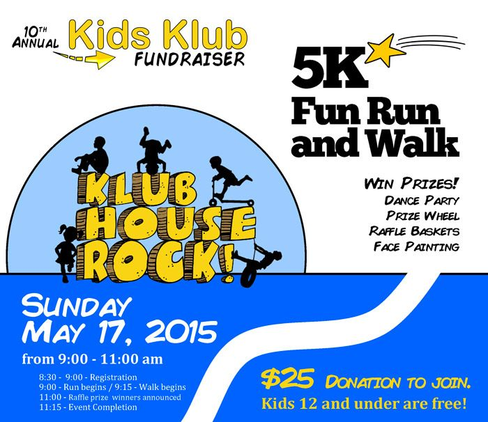 Kids Klub 5K Fun Run and Walk – Klub House Rock! Join Kids Klub for a fun day with friends and family! Run or walk to raise money for tuition scholarships, field trips, enrichment opportunities and more. There will be fun activities and prizes available for the whole family.  For every $25 donation raised, get a free event T-shirt. First 200 people to register will get a free kids' meal donated from PF Chang's.  Register by emailing info@kidsklubri.com