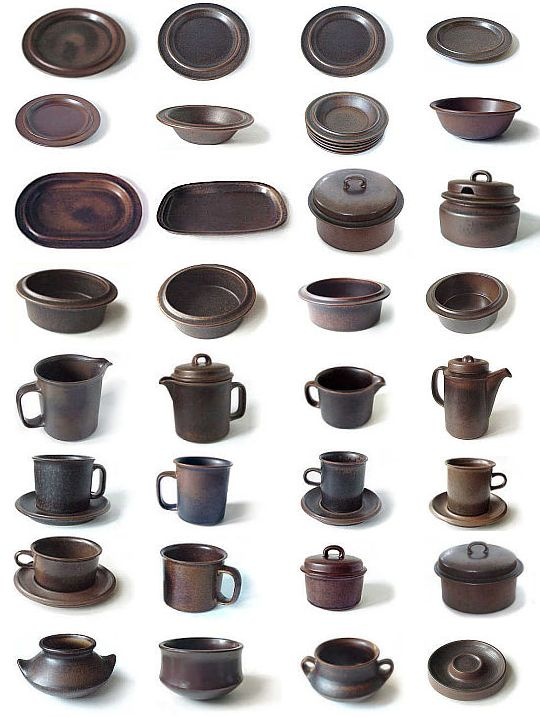 #Arabia #Ruska collection. The designer of 'Ruska' series was Ulla Procopé (1921-1968), who worked for Arabia from 1948 to 1968. Production of 'Ruska' discontinued in 1999. Would love to have this set!!