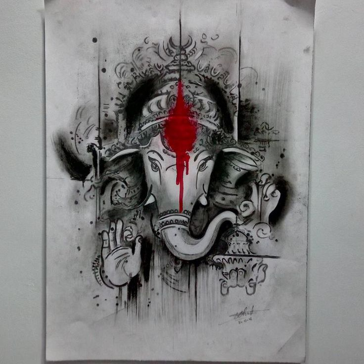 CHARCOAL SKETCH OF LORD GANESHA BY SWANAND BHAGAT(INKLLUSION TATTOO)