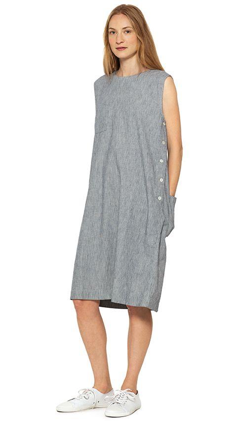 WOMEN SPRING SUMMER 15 - Navy/ecru stripe cotton dress (MHL), white canvas plimsole (MHL)