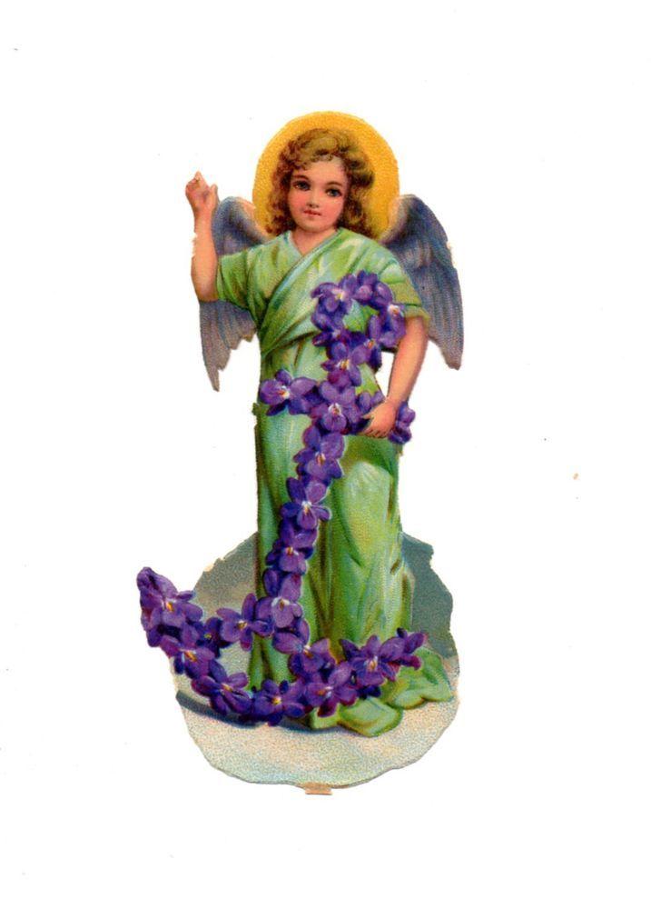 Alte Oblate Glanzbilder Scraps Engel mit Blüten-Anker 12cm ...