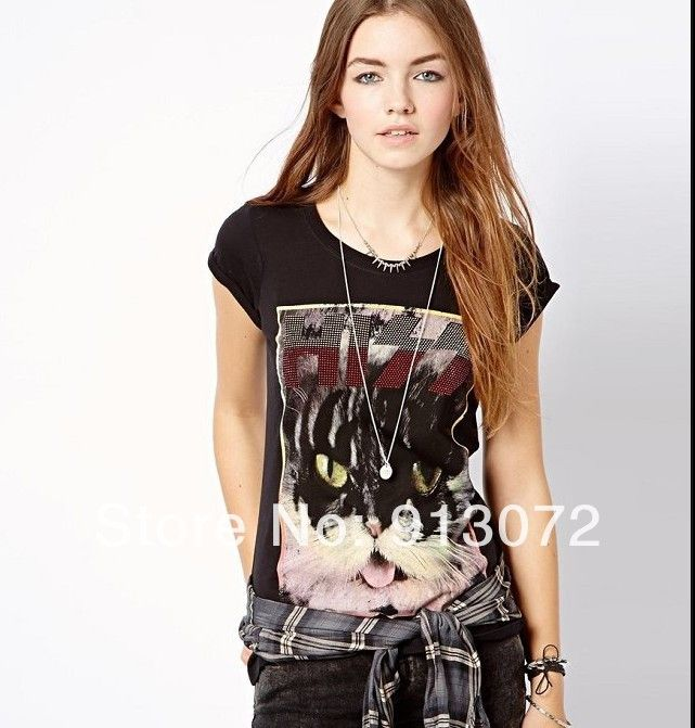 ST1191 New Fashion Ladies' stud decorated Cat head print T-shirt short sleeve O-neck Casual slim shirts brand designer tops