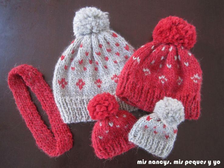 mis nancys, mis peques y yo, conjunto gorros de lana para niñas y su nancy, tutorial
