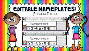 """Add some pizzazz to your classroom by using these EDITABLE rainbow themed nameplates {legal paper size}! You will be able to use these nameplates over and over again!! This unit includes 14 different """"Rainbow"""" themed nameplates. Nameplates include: **alphabet line (D'Nealian Font and Regular"""