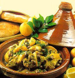 Tajine poulet citrons confits olives