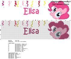 Elisa nome bambina punto croce schema gratis con Pinkie Pie My Little Pony