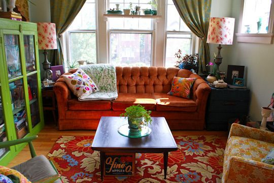 Apartment Therapy: Stacey & John's Crazy Quilt Apartment, St. Louis: Crazy Quilts, Colors Patterns, Boho Cottages, John Crazy, Apartment Therapy, Funky Sweet, Colors Schemes, Cozy Living Rooms, Houses Tours