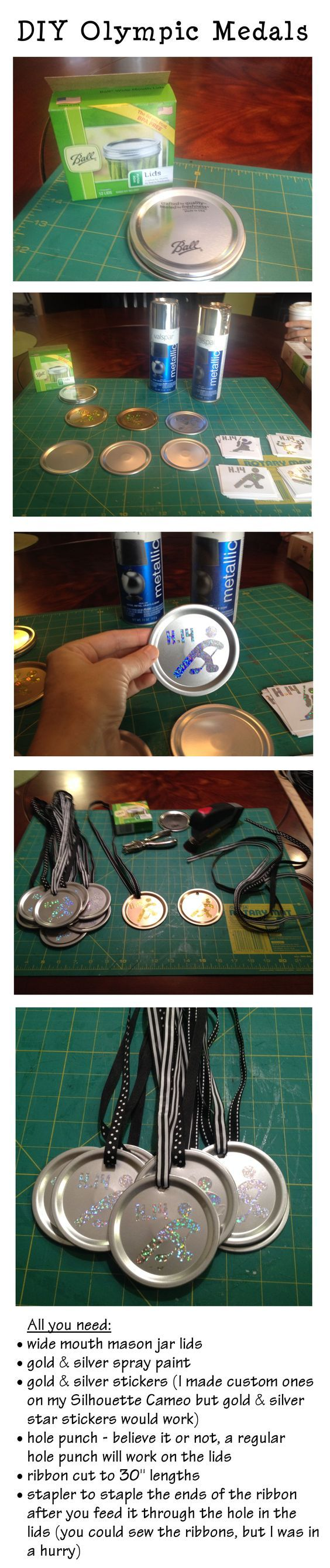 """Cheap and easy DIY Olympic Medals - For my daughter's Winter Olympics-themed birthday party, we planned """"events"""" - knee hockey, team snowball fight, etc - and awarded these DIY Olympic Medals.:"""