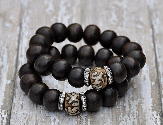 Chunky Wood Bead Bracelets | Beaded Bracelets | Artisan Bead Bracelets