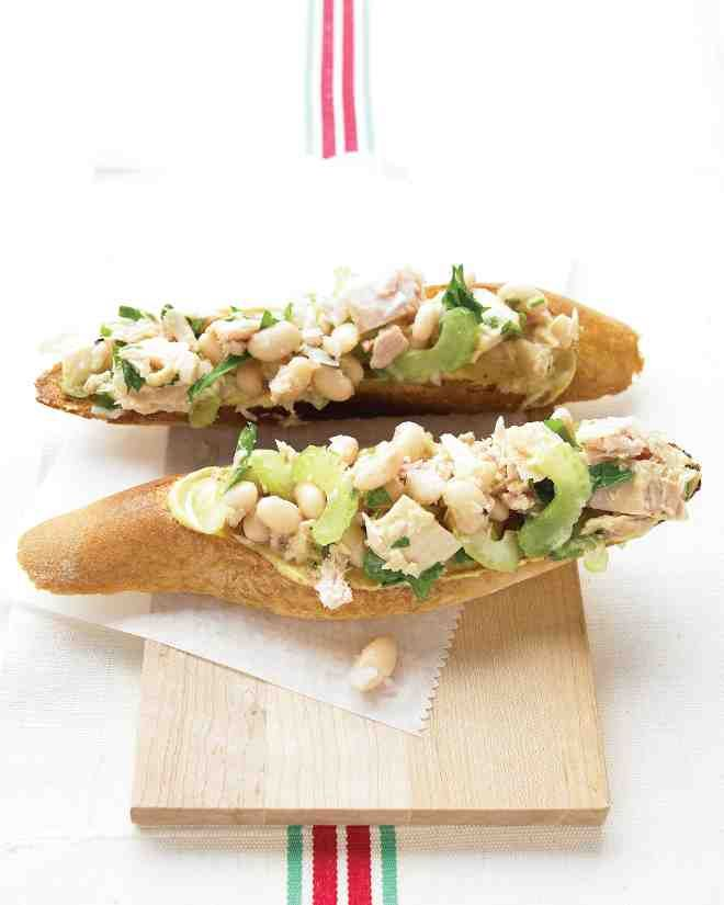 For an excellent appetizer, light lunch, or afternoon snack, toss together cannellini beans, shallot, parsley, celery, and olive oil-packed tuna in a zingy lemon-Dijon dressing. Pile on toasted baguette slices.