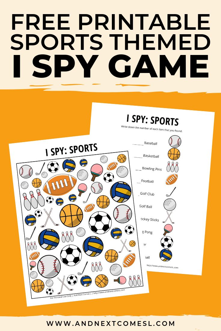 Sports Themed I Spy Game {Free Printable for Kids} in 2020