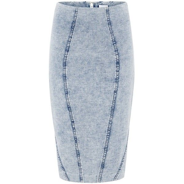 HALIFAX DENIM SKIRT (120 AUD) ❤ liked on Polyvore featuring skirts, stretch skirts, below the knee skirts, stretchy skirt, midi skirt and fitted skirts