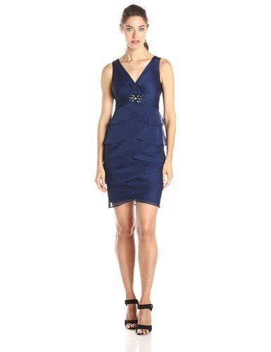 $79 T10 y Calipso T10 London Times Navy Blue Beaded Cocktail Bridesmaid Party Dress Sheath Size 8 #LondonTimes #Sheath #Festive