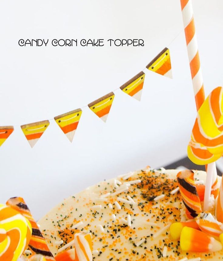We're kinda obsessed with @lovetheday 's Candy Corn Cake Topper! Get the easy DIY on the our blog!  #candycorn #cake #caketoppers #diy #crafternoon #orientaltrading