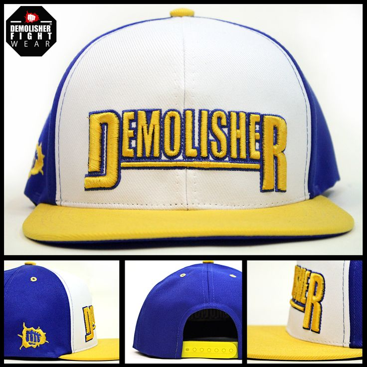 Boné Demolisher® Oficial - Azul, Branco e Amarelo /// Bordado Demolisher Frontal e Lateral  #DemolisherOficial #Porrada #Cap