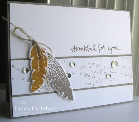 Stampin' Up! ... hand crafted card: Stampin' Seasons: The Stamp Review Crew: Four Feathers ... clean lines ... white with neutrals ... feathers and grunge sprinkles with sequins too ...