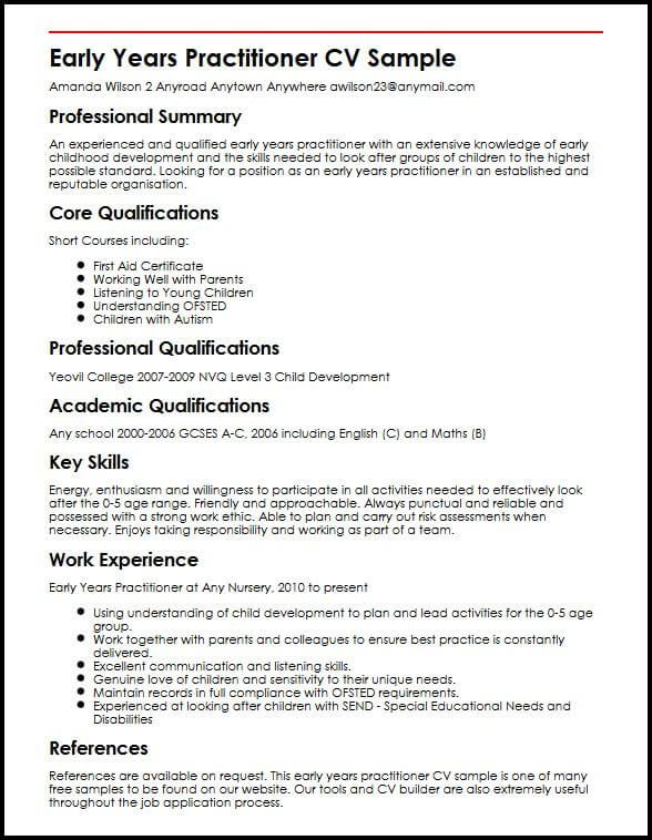Early Years Practitioner Cv Sample Myperfectcv Early Years Practitioner Extra Curricular Activities Resume Examples