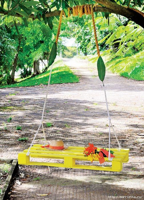 For garden - Swing from a wooden pallet