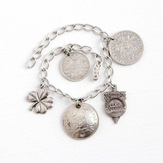 Sale - Vintage Sterling Silver Charm Bracelet - 1940s Sixpence, Centimes, Canadian 5 Cent Coin, Four Leaf Clover, Mt. Vernon VA Jewelry by Maejean Vintage on Etsy