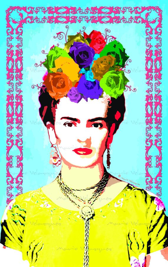 Frida Kahlo Blue Background with Hot Pink Swirl Frame Painting Instant Download Print Digital Modern Photo Collage