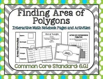 Finding Area of Polygons Interactive Notebook Pages + Acti