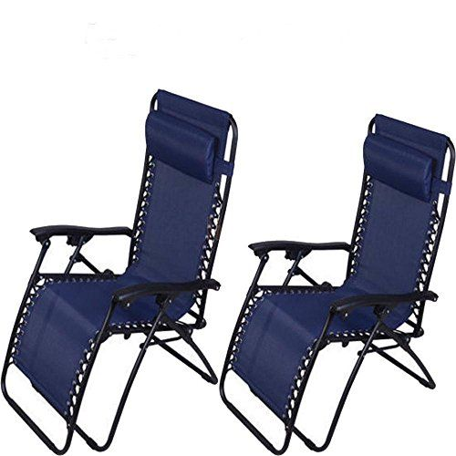 FCH 2 Folding Adjustable Zero Gravity Recliner Chairs for Outdoor Lounge Patio Pool Beach Yard Chair With cup holderUtility Tray BLUE *** Continue reading at the image link.