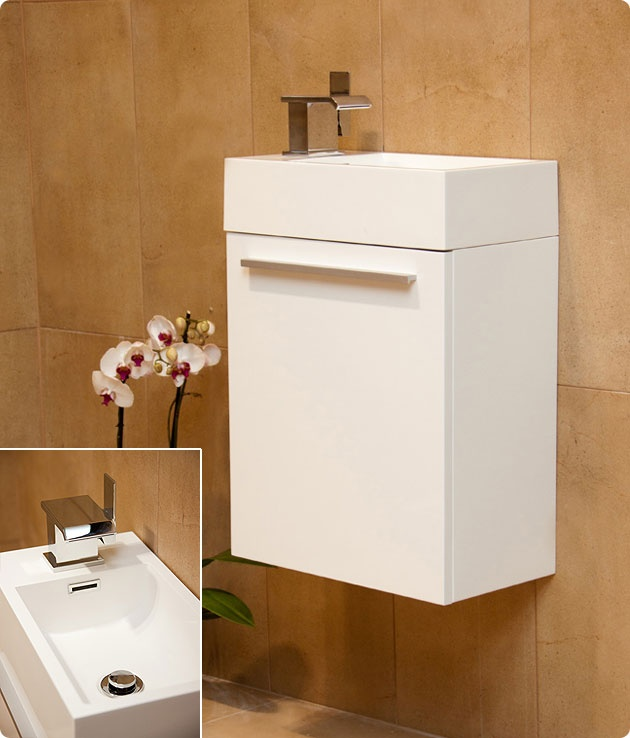 Durab Tiny Space Saving Bathroom WHITE Vanity Unit (Wall Mounted) including Basin 460mm Wide x 260mm Deep