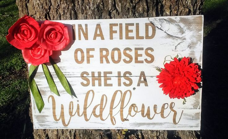 Coral, In A Field of Roses, Sola Wood Flowers, Roses, Chrysanthemum, Rustic Fence Picket sign by HealinHeartsMendinFe on Etsy