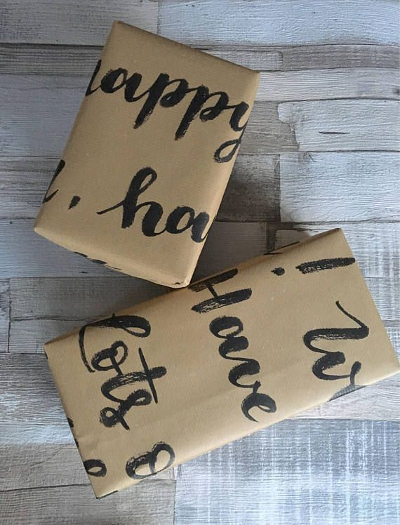 Say happy birthday with a special handwritten gift wrapping paper! Choose a message to be written in brown kraft paper, for a unique and personalised birthday paper. Please be aware that this paper is handwritten, and no rulers are used prior to the writing process. It will most