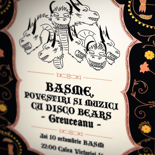 """""""Basme, povestiri si muzici cu Disco Bears"""" is an event held in not-so-mainstream club Basm (in Bucharest).  Published: September 26, 2013"""