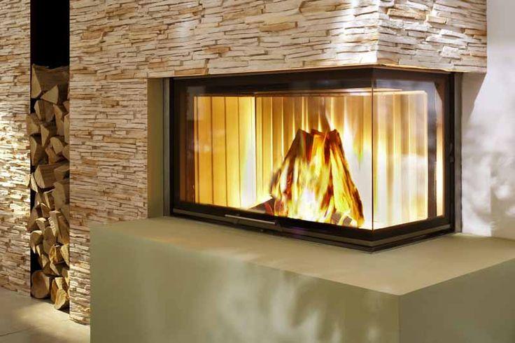 chemin e d 39 angle avec foyer ferm spartherm http www. Black Bedroom Furniture Sets. Home Design Ideas