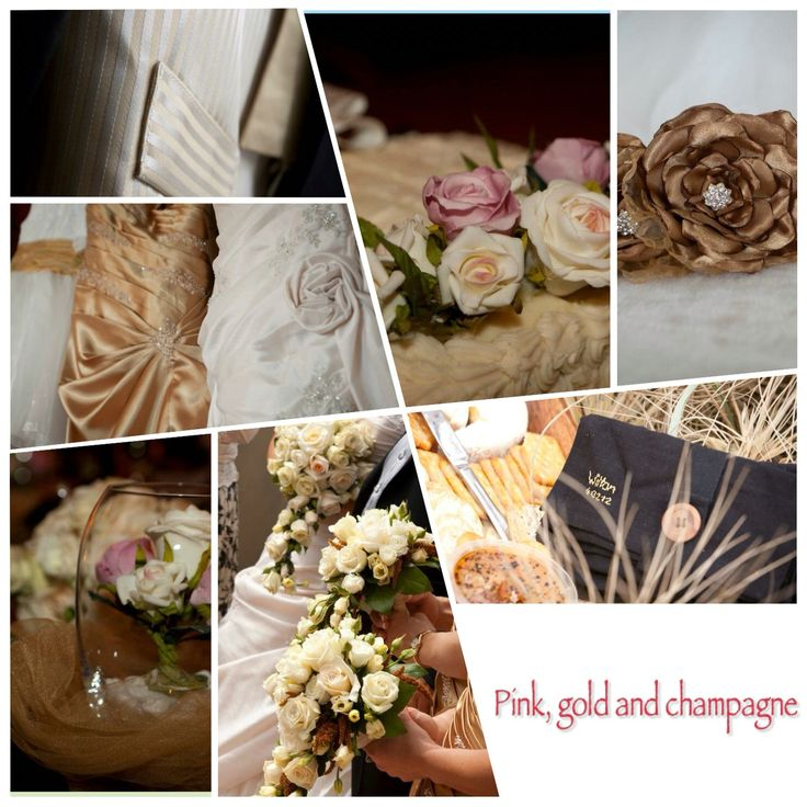 Pink, gold and champagne wedding colour theme