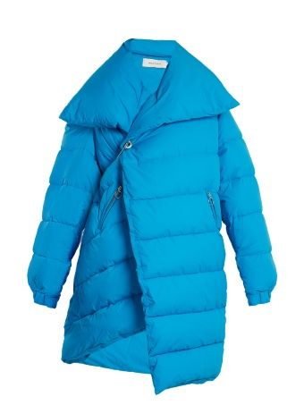 Asymmetric quilted-down coat