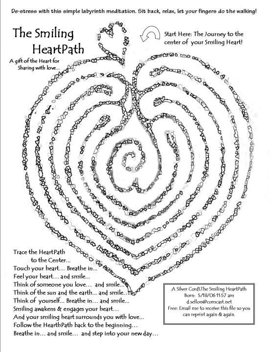 Heart path labyrinth.  Modify for prayer and labyrinths.