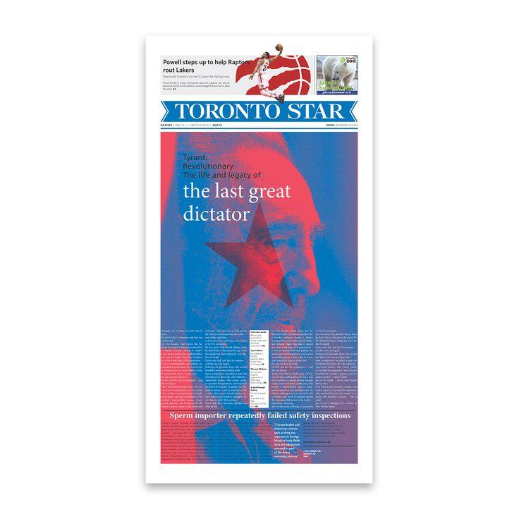 Front page design for The Toronto Star newspaper. . . . . . #graphicdesign @thetorontostar #cover #typography #typesetting #illustration #fidelcastro #cuba #newspaper @societyfornewsdesign @newspaperclub designer: @si.fani #toronto #canada #layout #aiga #aigadesign #print #star #news #creative #art #focus #Toronto #Ontario #Canada #newspaper #paper #Cuba #Castro