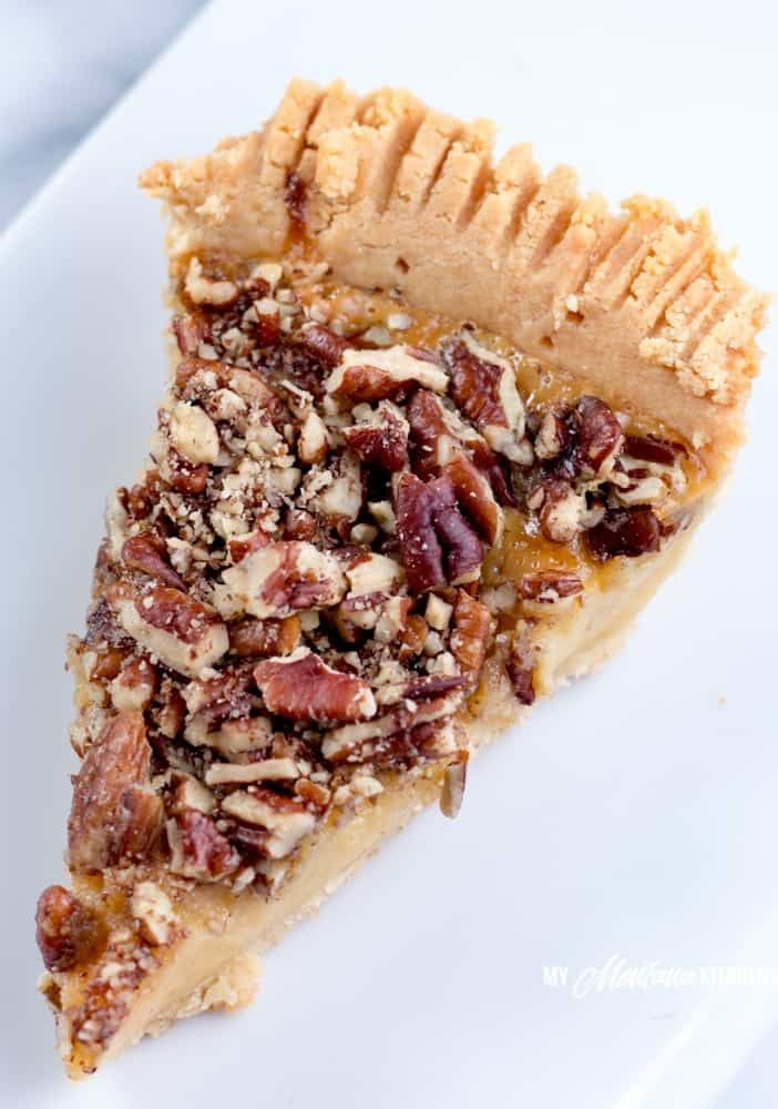 This Sugar Free Pecan Pie Uses A Low Carb Condensed Milk To Replace The Traditional Corn Syrup Used In P Sugar Free Pecan Pie Sugar Free Recipes Sugar Free Pie