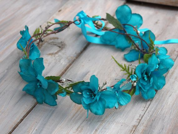 Blue Bridal Crown Flower Girl Halo Blue Head by TwoCatsAndAnOwl